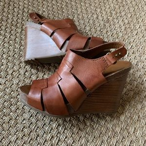 Franco Sarto Brown Leather Wedge Sandals Size 8.5